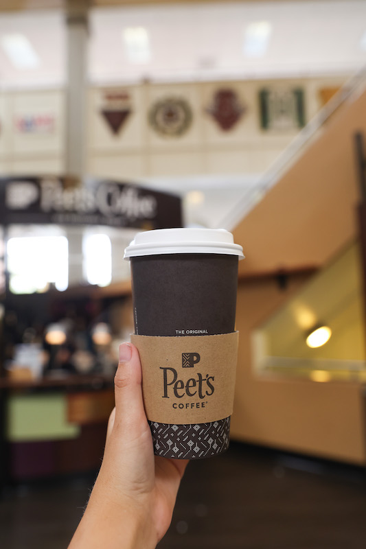 Peet's coffee cup in the student center.