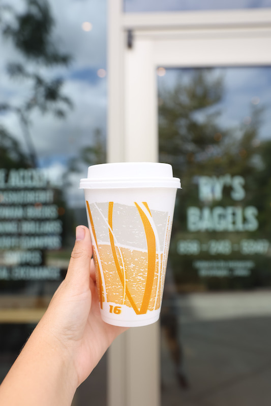 Coffee cup outside of Ry's Bagels